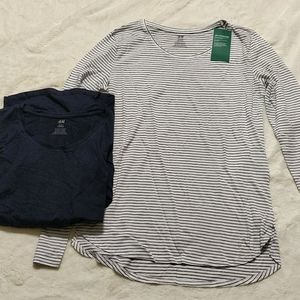 H&M Set of 2 Long Sleeve Tops Navy 12-14 NWT